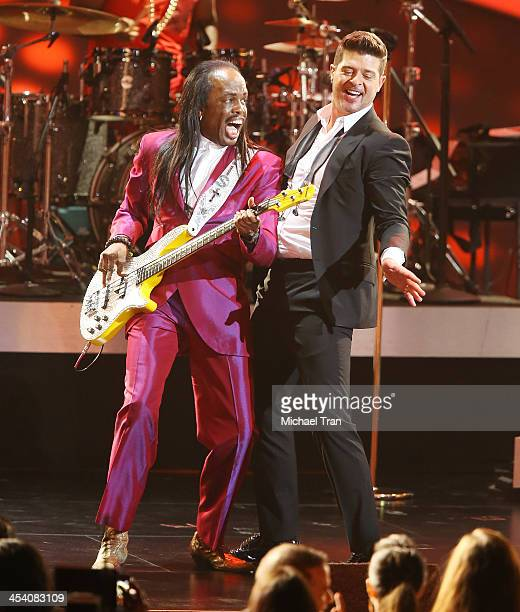 Verdine White and Robin Thicke perform at the GRAMMY Nominations Concert Live held at Nokia Theatre LA Live on December 6 2013 in Los Angeles...