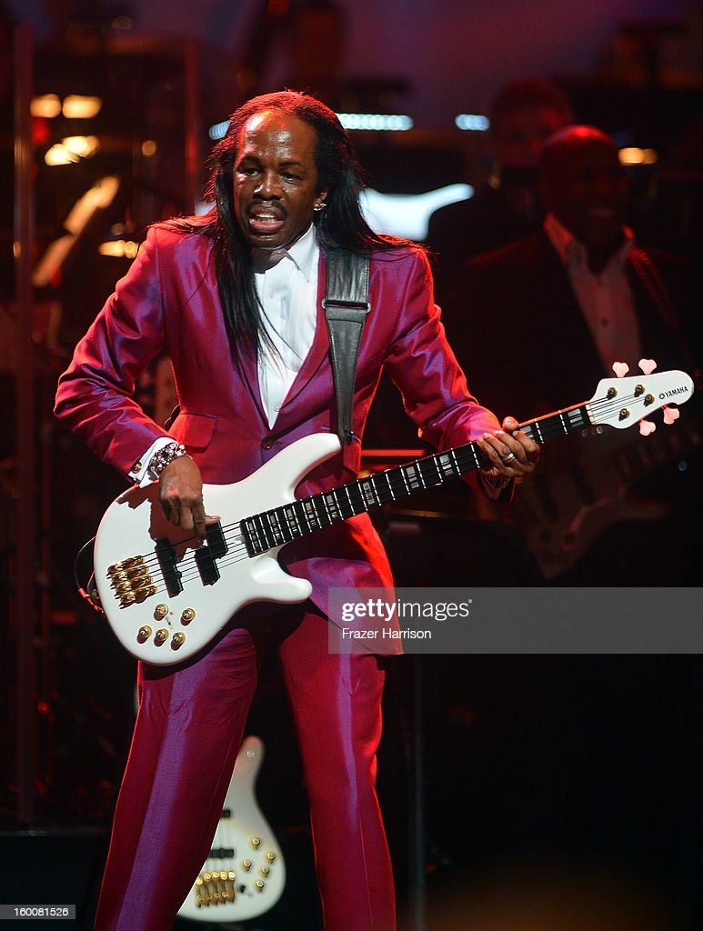 Verdine White of Earth Wind and Fire celebrating Yamaha's 125th Anniversary Live Around the World Dealer Concert performs at the Hyperion Theater on January 25, 2013 in Anaheim, California.