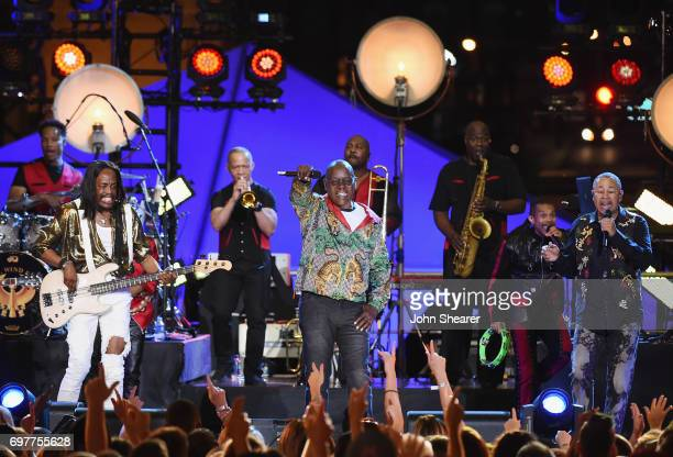 Verdine White Philip Bailey and Ralph Johnson of Earth Wind Fire during CMT Crossroads Earth Wind Fire and Friends on June 6 2017 in Nashville...