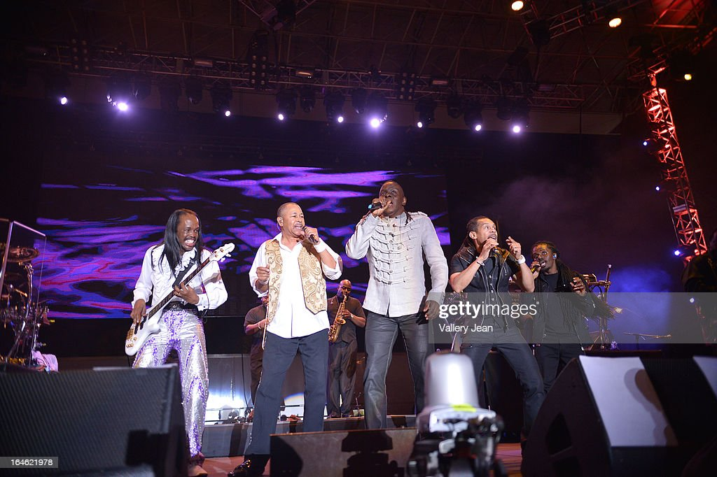 Verdine White, Ralph Johnson and Philip Bailey of Earth, Wind & Fire performs at the 8th Annual Jazz In The Gardens Music Festival - Day 2 at Sun Life Stadium on March 17, 2013 in Miami Gardens, Florida.