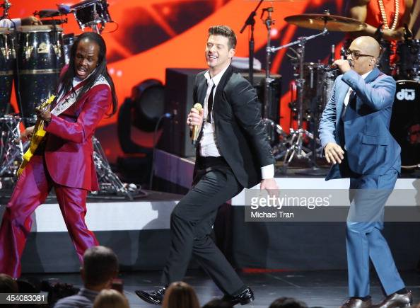 Verdine White Robin Thicke and TI perform at the GRAMMY Nominations Concert Live held at Nokia Theatre LA Live on December 6 2013 in Los Angeles...
