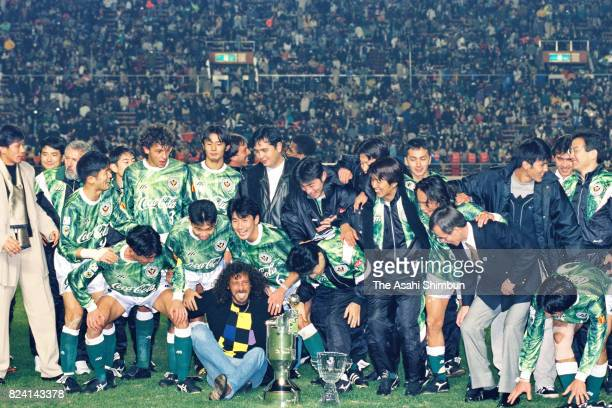 Verdy Kawasaki players and staffs celebrate the JLeague 2nd stage champions after the JLeague match between Verdy Kawasaki and Urawa Red Diamonds at...