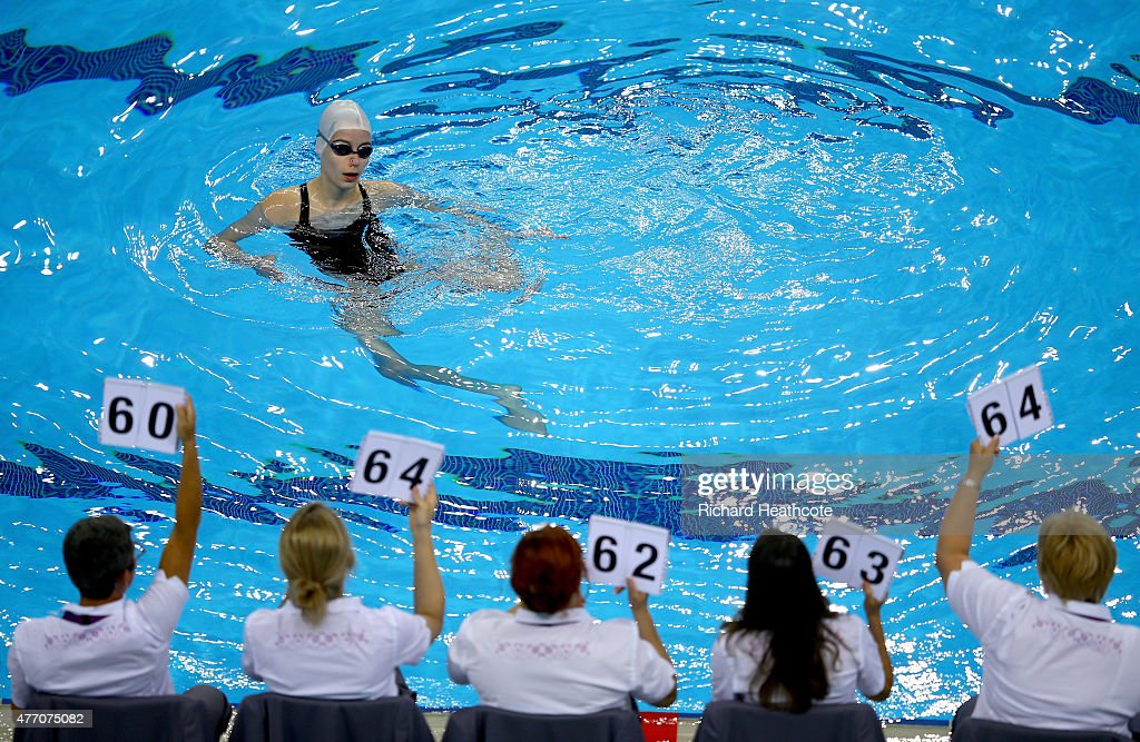 Verena Breit of Austria recieves her makes from the judges in the Figures Synchronised Swimming during day two of the Baku 2015 European Games at Baku Aquatics Centre on June 14, 2015 in Baku, Azerbaijan.