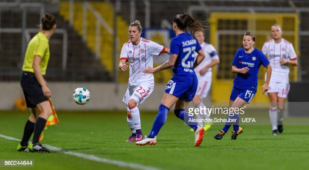 Verena Faisst of Bayern in action against Ramona Bachmann of Chelsea during the UEFA Women Champions League Round of 32 second leg match between FC...