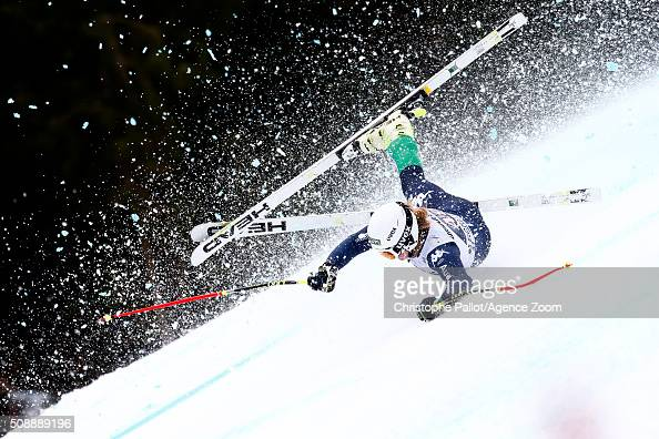 Verena Gasslitter of italy crashes during the Audi FIS Alpine Ski World Cup Women's Super G on February 07 2016 in GarmischPartenkirchen Germany