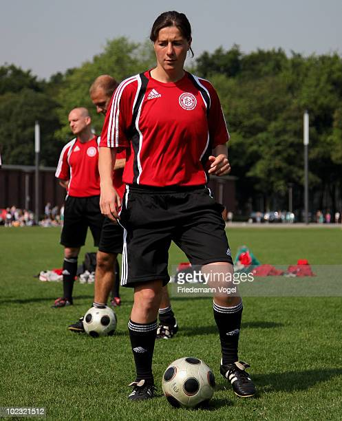 Verena Hagedorn of the DFB Pro Licence Course 2010/2011 in action during the photocall at the Rheinenergie Stadium on June 23 2010 in Cologne Germany