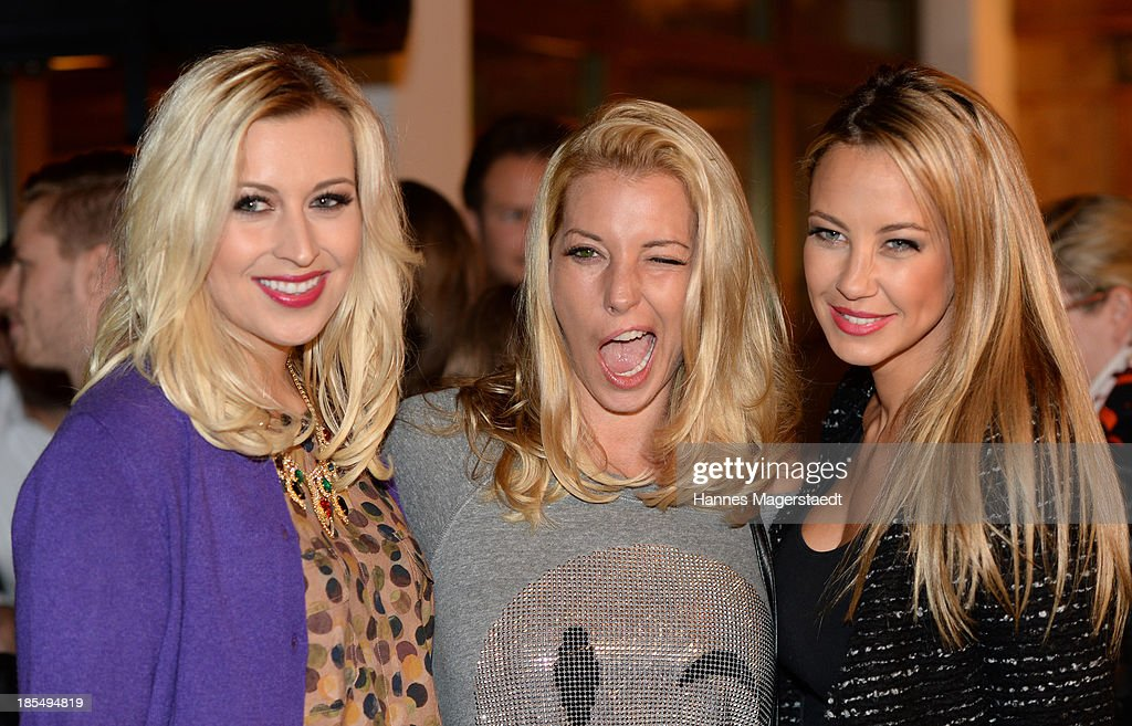 Verena Kerth Giulia Siegel and Alessandra Pocher attend the presentation of Manfred Baumann New Calendar 2014 at the King's Hotel Center on October...