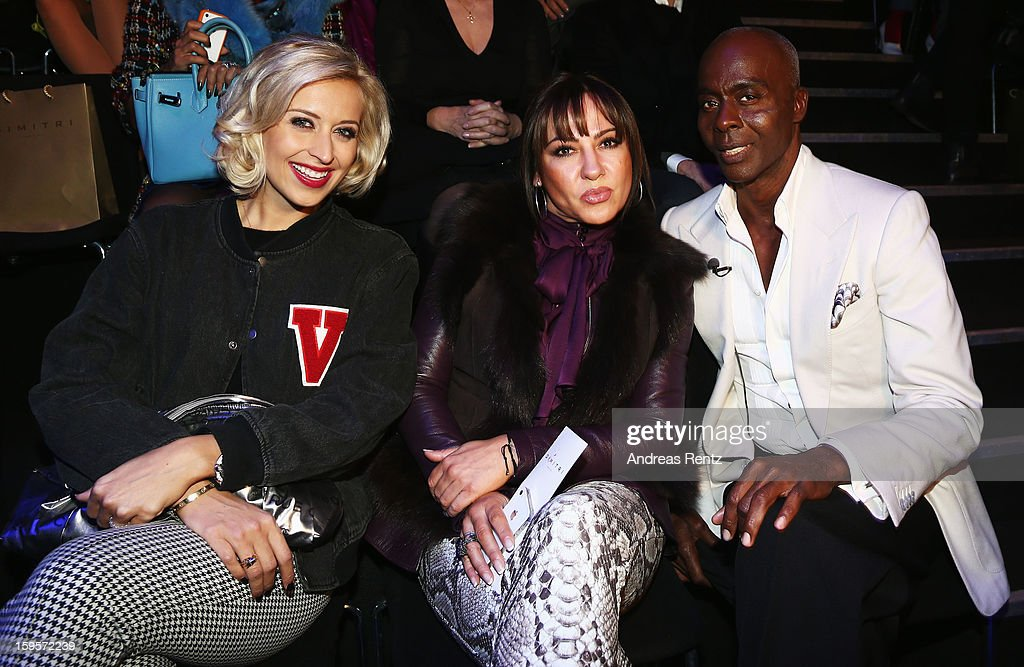 Verena Kerth, Simone Thomalla and Bruce Darnell attend Dimitri Autumn/Winter 2013/14 fashion show during Mercedes-Benz Fashion Week Berlin at Brandenburg Gate on January 16, 2013 in Berlin, Germany.