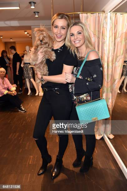 Verena Kerth with dog Mucki and Alessandra Geissel during 'Marcell von Berlin Store Opening' on March 4 2017 in Munich Germany