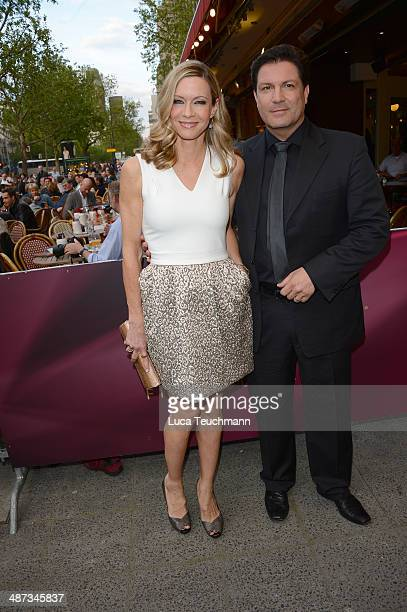 Verena Klein and Francis FultonSmith attend 'Die SpiegelAffaere' Berlin Premiere at Astor Film Lounge on April 29 2014 in Berlin Germany