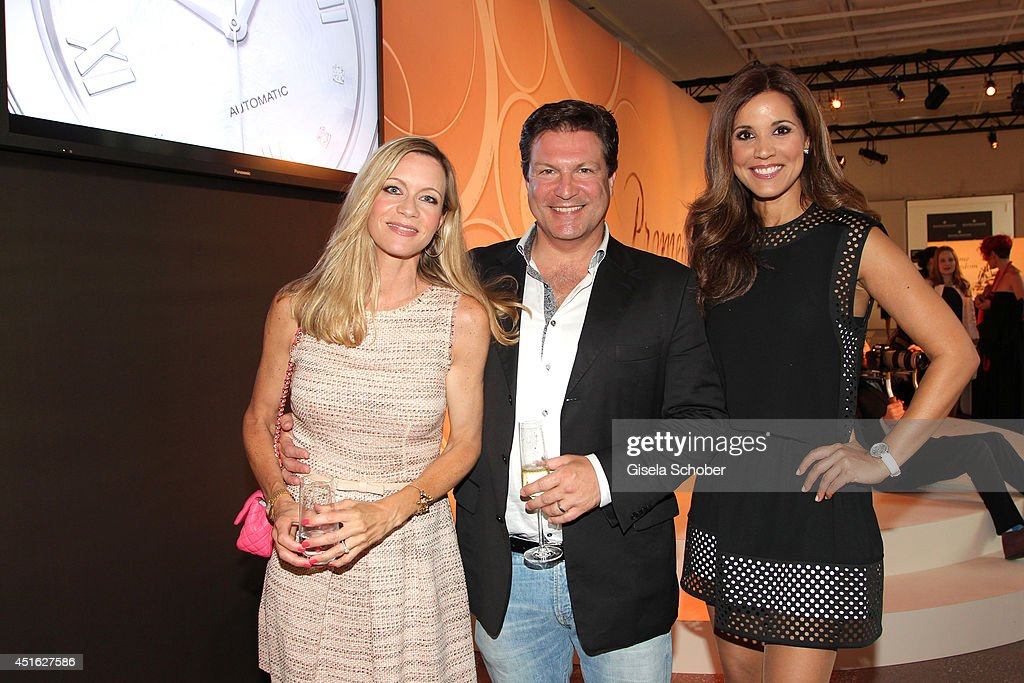 Verena Klein and husband Francis Fulton Smith, Karen Webb attends the presentation of the Baume & Mercier 'Promesse' Ladies Collection at Haus der Kunst on July 2, 2014 in Munich, Germany.