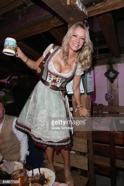 Verena Klein wearing a dirndl by Lola Paltinger during the 'Almauftrieb' as part of the Oktoberfest 2017 at Kaeferschaenke Tent on September 17 2016...