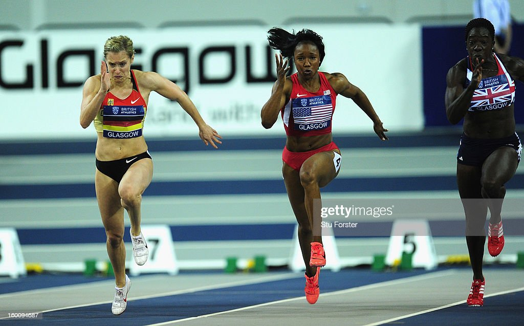 Verena Sailer (l) of Germany on her way to beating Carmelita Jeter of USA in the Womens 60 metres during the British Athletics International Match at the Emirates Arena on January 26, 2013 in Glasgow, Scotland.