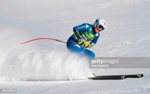 Verena Stuffer of Italy slides into the finish area during the FIS Ski World Cup Women's Super G on December 3 2017 in Lake Louise Canada / AFP PHOTO...