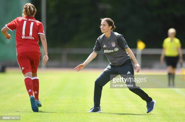 Verena Wieder and Carmen Roth head coach of FC Bayern Muenchen celebrate scoring their side's second goal during the B Junior Girl's German...