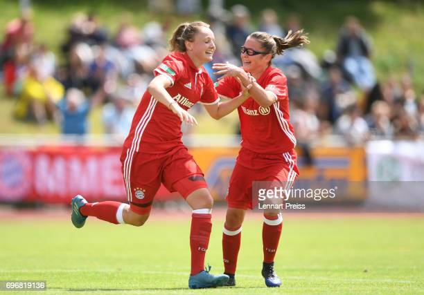Verena Wieder and Julia Pollak of FC Bayern Muenchen celebrate scoring their side's second goal during the B Junior Girl's German Championship Final...