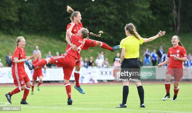 Verena Wieder and Leonie Koester of FC Bayern Muenchen celebrate their side's first goal during the B Junior Girl's German Championship Final between...