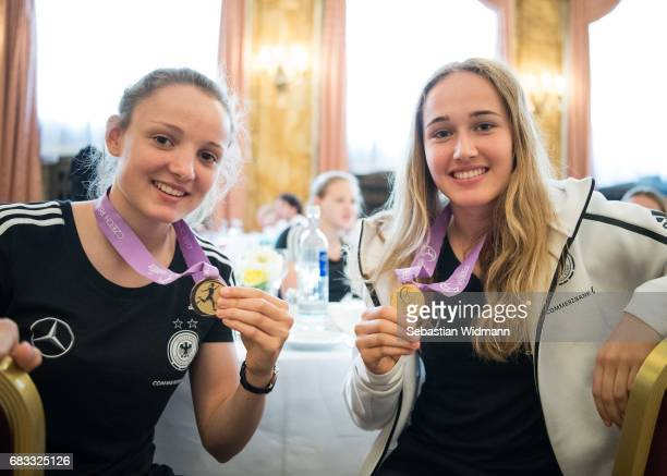 Verena Wieder and Sydney Lohmann pose for a picture with their medals during the reception at Le Meridien Grand Hotel on May 15 2017 in Nuremberg...