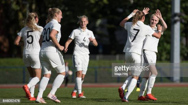 Verena Wieder celebrates with his teammates after scoring a goal to make it 30 during U19 Women's Germany and U19 Women's Kosovo UEFA Under19 Women's...