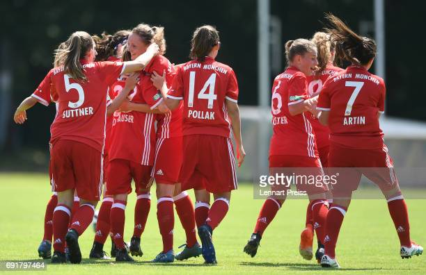 Verena Wieder of FC Bayern Muenchen and her teammates celebrate their side's first goal during the B Junior Girl's German Championship Semi Final...