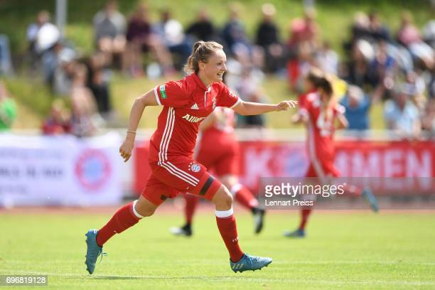 Verena Wieder of FC Bayern Muenchen celebrates scoring her side's second goal during the B Junior Girl's German Championship Final between FC Bayern...