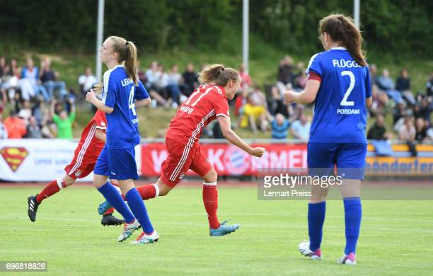 Verena Wieder of FC Bayern Muenchen celebrates scoring the opening goal during the B Junior Girl's German Championship Final between FC Bayern...