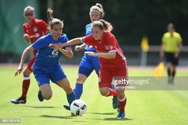 Verena Wieder of FC Bayern Muenchen challenges Jasmin Jabbes of SV Meppen during the B Junior Girl's German Championship Semi Final First Leg match...
