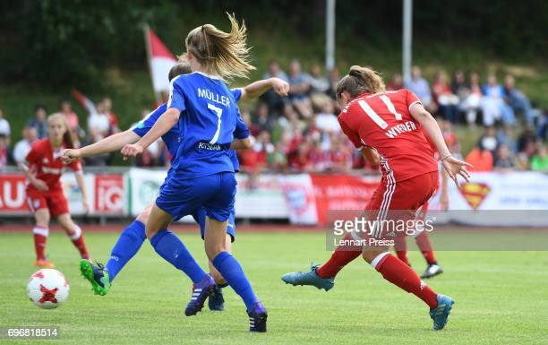 Verena Wieder of FC Bayern Muenchen scores the opening goal during the B Junior Girl's German Championship Final between FC Bayern Muenchen and 1 FFC...