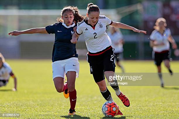 Verena Wieder of Germany callenges Selma Bacha of France during the match of the U16 Girl's Germany v U16 Girl's France UEFA Tournament on February...