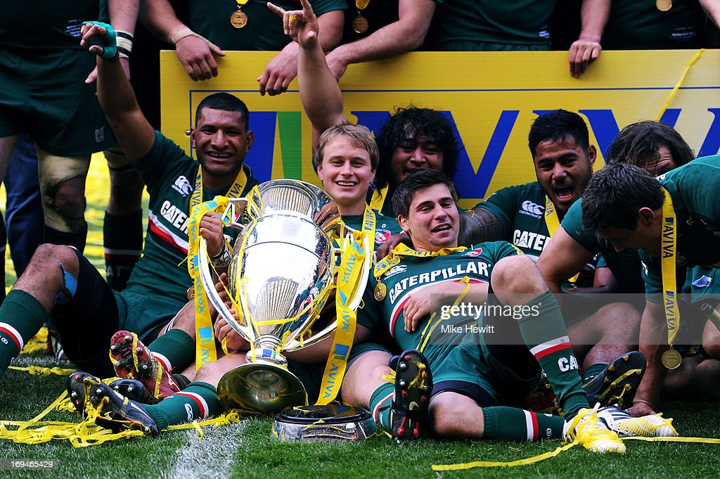 Vereniki Goneva, Mathew Tait, Logovi'i Mulipola, Ben Youngs and Manu Tuilagi during the Aviva Premiership Final between Leicester Tigers and Northampton Saints at Twickenham Stadium on May 25, 2013 in London, England.