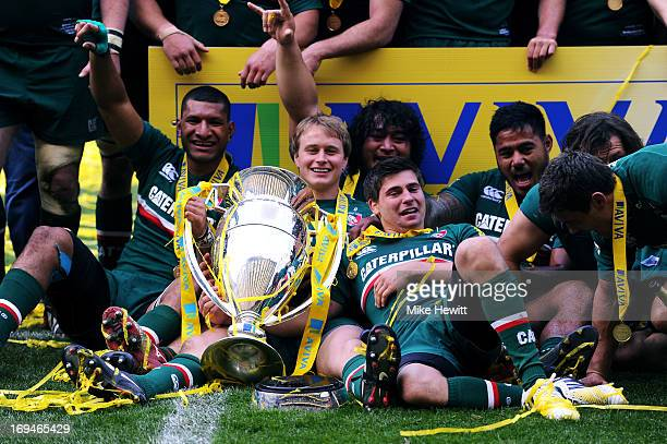 Vereniki Goneva Mathew Tait Logovi'i Mulipola Ben Youngs and Manu Tuilagi during the Aviva Premiership Final between Leicester Tigers and Northampton...