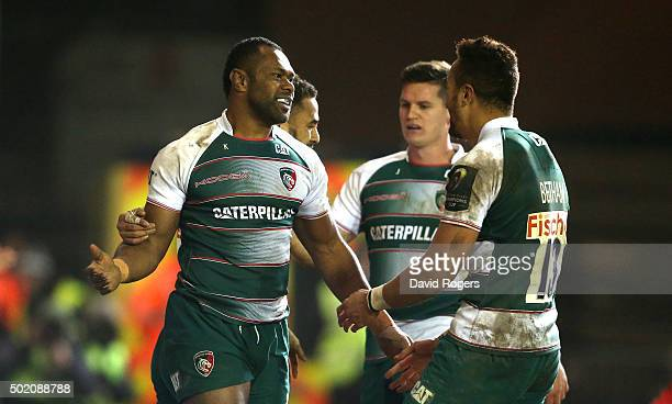 Vereniki Goneva of Leicester celebrates with team mates after scoring a try during the European Rugby Champions Cup match between Leicester Tigers...