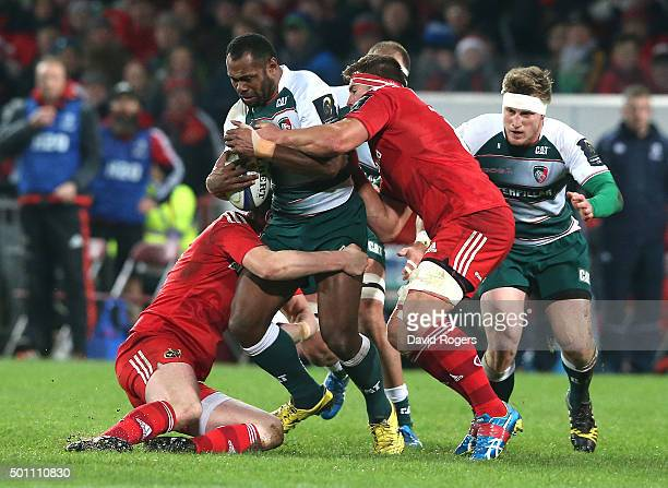 Vereniki Goneva of Leicester is tackled during the European Rugby Champions Cup match between Munster and Leicester Tigers at Thomond Park on...