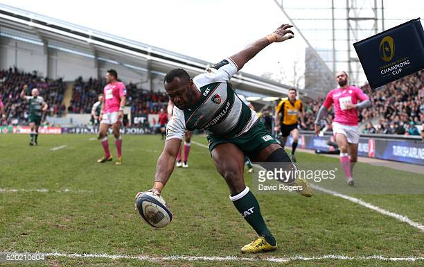 Vereniki Goneva of Leicester scores his second and Leicester's fourth try during the European Rugby Champions Cup quarter final match between...