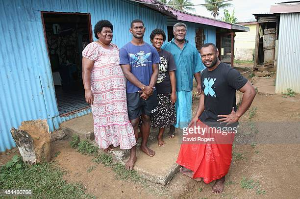 Vereniki Goneva of Leicester Tigers and Fiji wearing a traditional Sulu poses with his family his mother Melaia Nabewa his brother Seru his sister...
