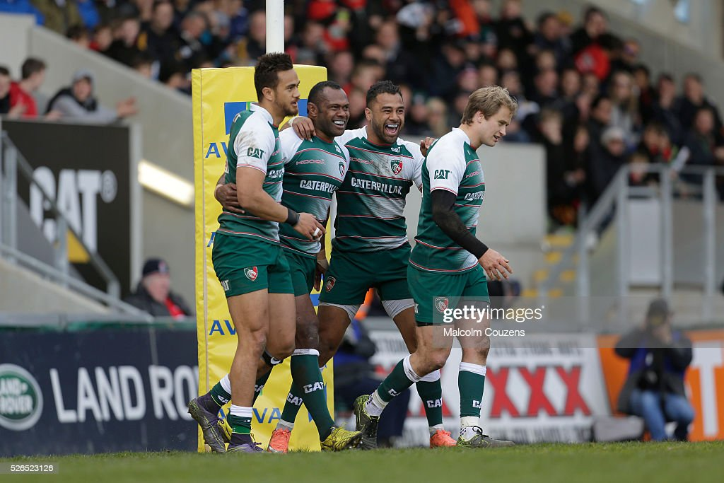 Vereniki Goneva of Leicester Tigers (second from left) celebrates scoring his first try with Peter Betham, Telusa Veainu and Matthew Tait during the Aviva Premiership match between Leicester Tigers and Worcester Warriors at Welford Road on April 30 in Leicester, United Kingdom.