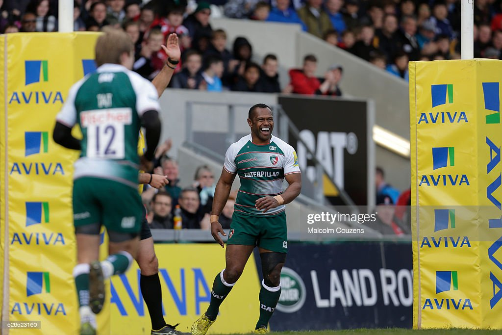 Vereniki Goneva of Leicester Tigers celebrates scoring his first try during the Aviva Premiership match between Leicester Tigers and Worcester Warriors at Welford Road on April 30 in Leicester, United Kingdom.
