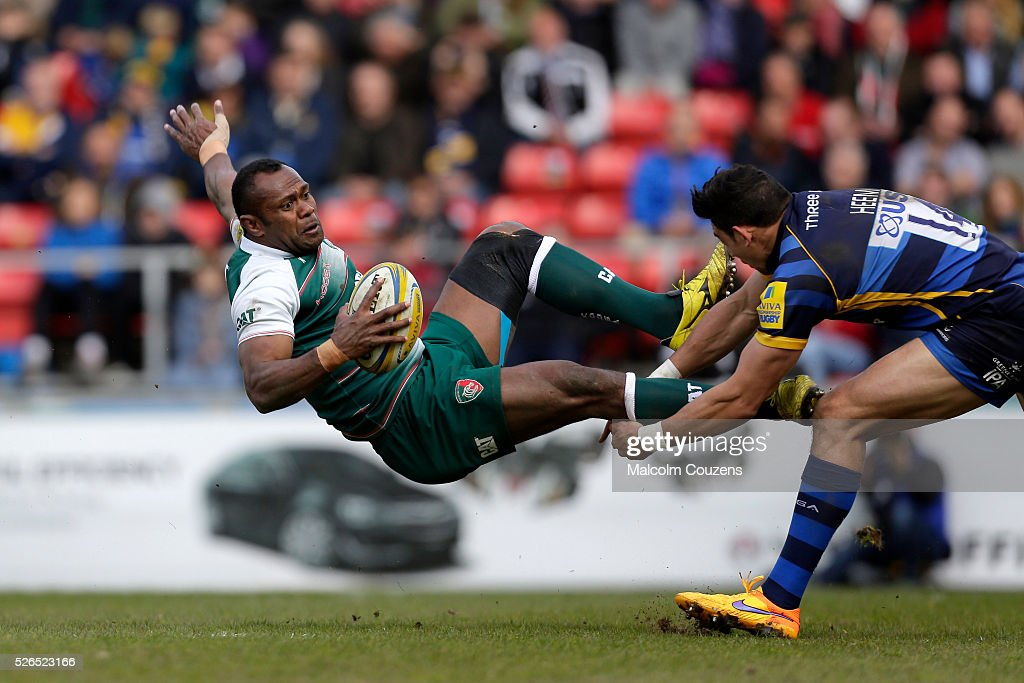Vereniki Goneva of Leicester Tigers is tackled by Bryce Heem of Worcester Warriors during the Aviva Premiership match between Leicester Tigers and Worcester Warriors at Welford Road on April 30 in Leicester, United Kingdom.