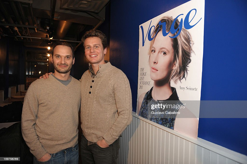 Verge founder and creative director Jeff Vespa and actor Jonathan Groff attends The Verge List Party at the Samsung Gallery Launch Party To Celebrate The Verge List - 2013 on January 19, 2013 in Park City, Utah.