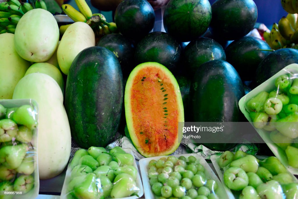 Verities fruits displayed in the National Fruit exhibition at Agricultural Institute in Dhaka, Bangladesh, on June 16, 2017. Bangladesh Agriculture Minister organized a National Fruit exhibition from June 16 to June 18 at Agricultural Institute in Dhaka. Many Government and Privet organization participants with National and International fruits the National Fruit exhibition in Bangladesh.