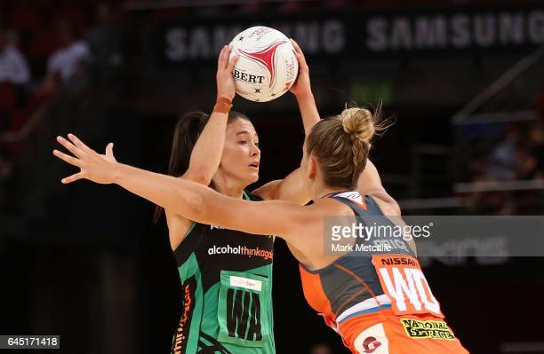 Verity Charles of the Fever in action during the round two Super Netball match between the Giants and the West Coast Fever at Qudos Bank Arena on...