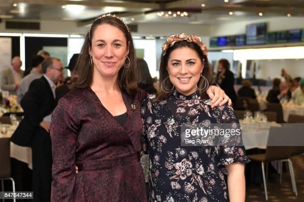 Verity Clough and Jennifer Salem at Flemington Racecourse on September 16 2017 in Flemington Australia