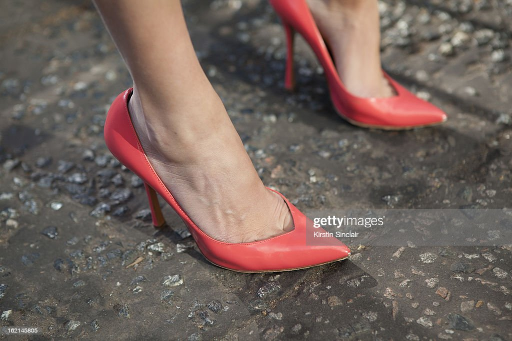 Verity Curtis fashion styles and blogger wearing Edmundo Castillo shoes, on day 5 of London Fashion Week Autumn/Winter 2013 on February 19, 2013 in London, England.