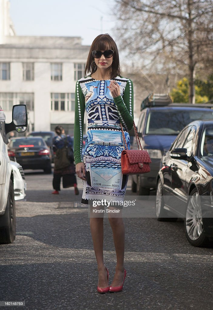 Verity Curtis fashion styles and blogger wearing louis vuitton sunglasses, mary katrantzou dress, chanel bag, Edmundo Castillo shoes, on day 5 of London Fashion Week Autumn/Winter 2013 on February 19, 2013 in London, England.