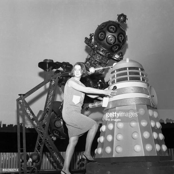 Verity Lambert producer of the BBC TV series Dr Who with a robot Dalek in the Planetarium Baker Street during location shooting for a new series