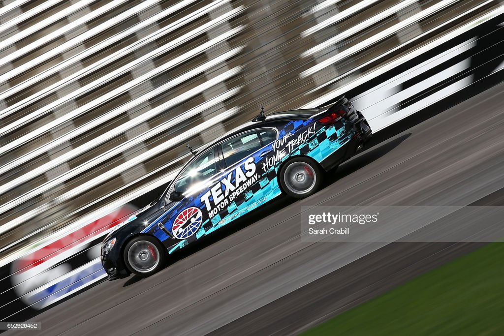 Verizon IndyCar Series driver and owner for Ed Carpenter Racing, Ed Carpenter, drives a pace car during the Texas Motor Speedway Track Renovation Unveiling at Texas Motor Speedway on March 13, 2017 in Fort Worth, Texas.