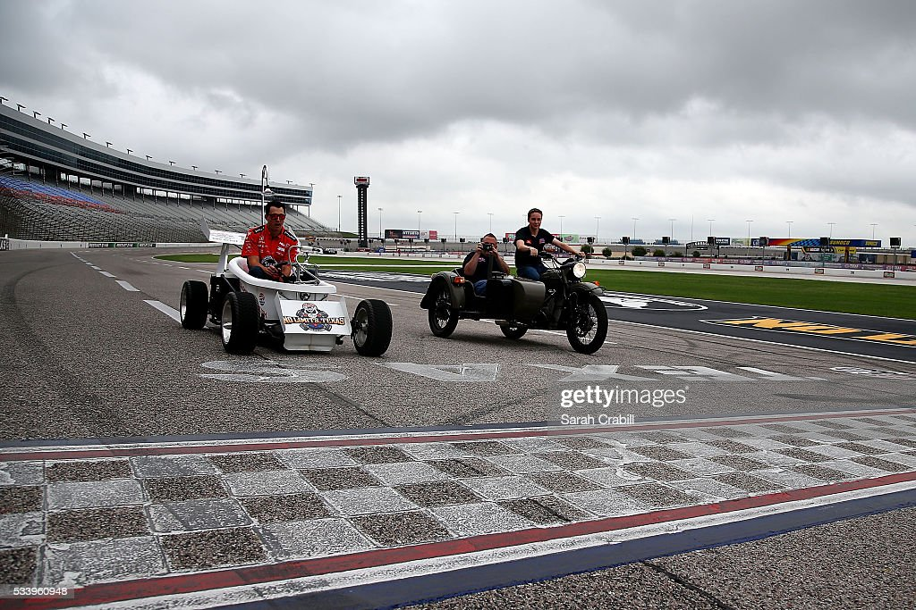 Verizon IndyCar Series driver Graham Rahal and NASCAR Camping World Truck Series driver Christopher Bell arrive to the Speeding To Read Championship Assembly at Texas Motor Speedway on May 24, 2016 in Fort Worth, Texas.