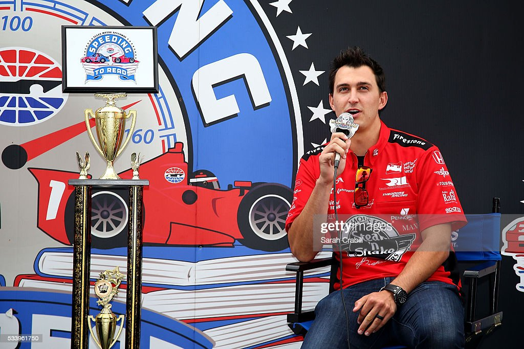 Verizon IndyCar Series driver Graham Rahal answers questions during the Speeding To Read Championship Assembly at Texas Motor Speedway on May 24, 2016 in Fort Worth, Texas.