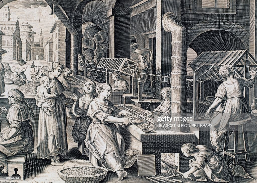 Vermis sericus, women spinning silk and heating silkworms on the fire, engraving by Stradanus (1523-1605). Italy, 16th century.