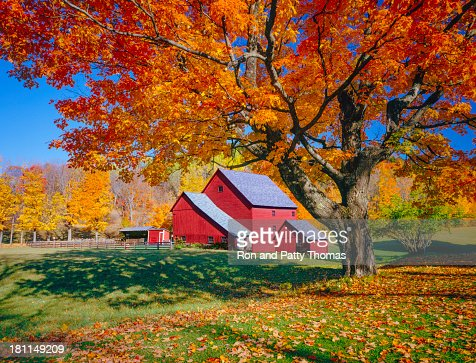 Vermont autumn with rustic barn